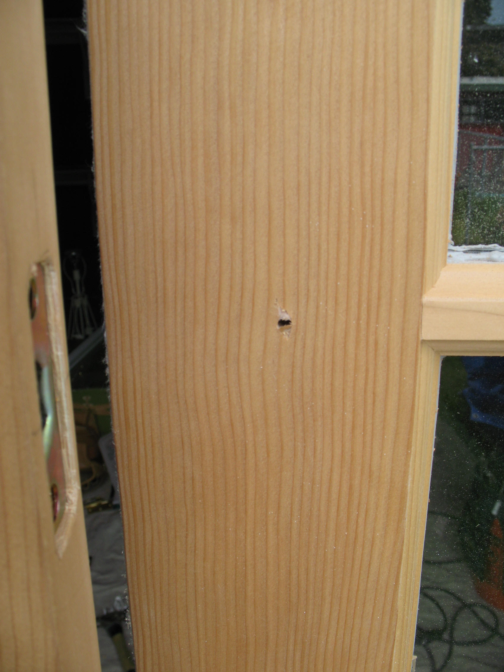 Wood french door install drilling for knobs and hardware for Installing french doors